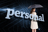 Businesswoman holding umbrella behind the word personal