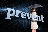 Businesswoman holding umbrella behind the word prevent