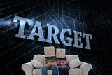 Target against futuristic black and blue background