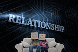 Relationship against futuristic black and blue background