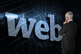 Web against futuristic black and blue background