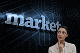 Market against futuristic black and blue background