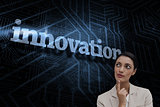 Innovation against futuristic black and blue background