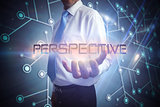 Businessman presenting the word perspective