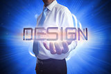 Businessman presenting the word design