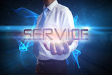 Businessman presenting the word service
