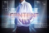 Businessman presenting the word content