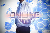 Businessman presenting the word online
