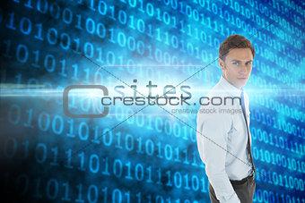 Sites against shiny blue binary code on black background