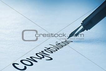 Fountain pen writing Congratulations
