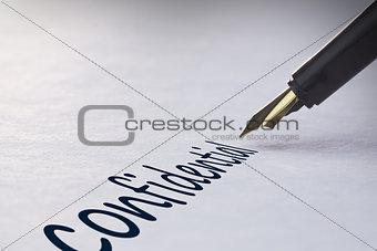 Fountain pen writing Confidential