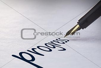 Fountain pen writing Progress