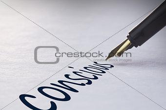 Fountain pen writing Conscious