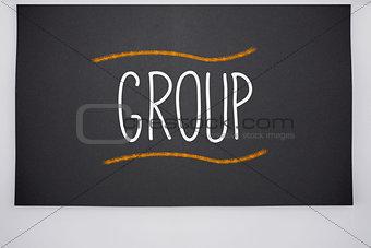 Group written on big blackboard