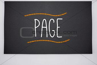 Page written on big blackboard