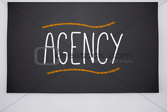 Agency written on big blackboard