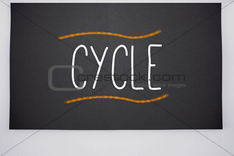Cycle written on big blackboard