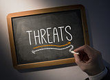 Hand writing Threats on chalkboard