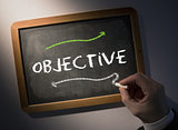 Hand writing Objective on chalkboard