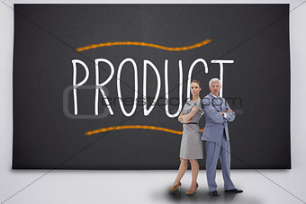 Business people standing against the word product