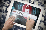 Hand touching blog on search bar on tablet screen