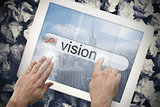 Hand touching vision on search bar on tablet screen