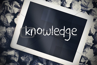 Knowledge against tablet pc with blue screen