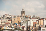 Cityscape over istanbul with galata tower