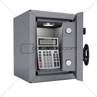 Calculator in an open metal safe