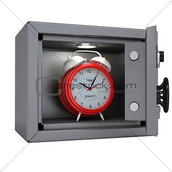 Alarm clock in an open metal safe