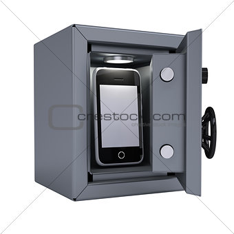 Smartphone in an open metal safe