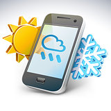 "Weather on smartphone -€"" illustration"