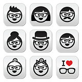 People wearing glasses, geeks icons set