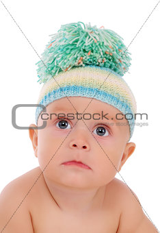 Portrait of baby on a white background