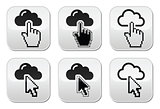 Cloud with cursor hand and arrow buttons set
