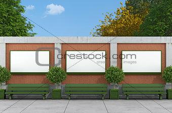 Blank street billboard on brick and concrete wall