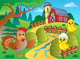 Farm theme with hen and chickens