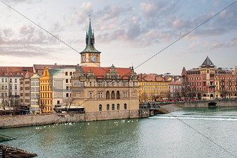 Prague. Vltava. Czech Republic. View from Charles Bridge