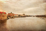 Prague. Vltava. Czech Republic. View from Charles Bridge, textured old paper