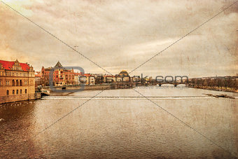 Prague. Vltava. Czech Republic. View from Charles Bridge, textured old paper