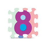 Vector number 8 written with alphabet puzzle