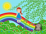 Small girl on the rainbow in sunny summer day