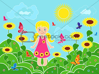 Small girl on the field among sunflowers