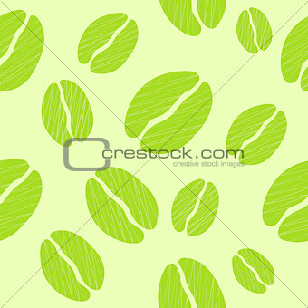 Green Coffee Seamless Pattern Vector Illustration Background