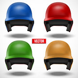 Baseball multicolor helmets isolated background.