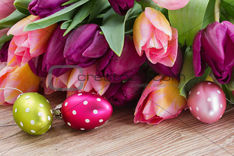 bouquet of tulips with eggs
