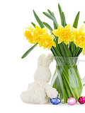 bunch of daffodils with easter bunny