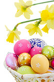 heap of easter eggs and daffodils