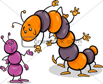 ant and caterpillar cartoon illustration