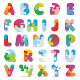 Vector alphabet written with puzzle